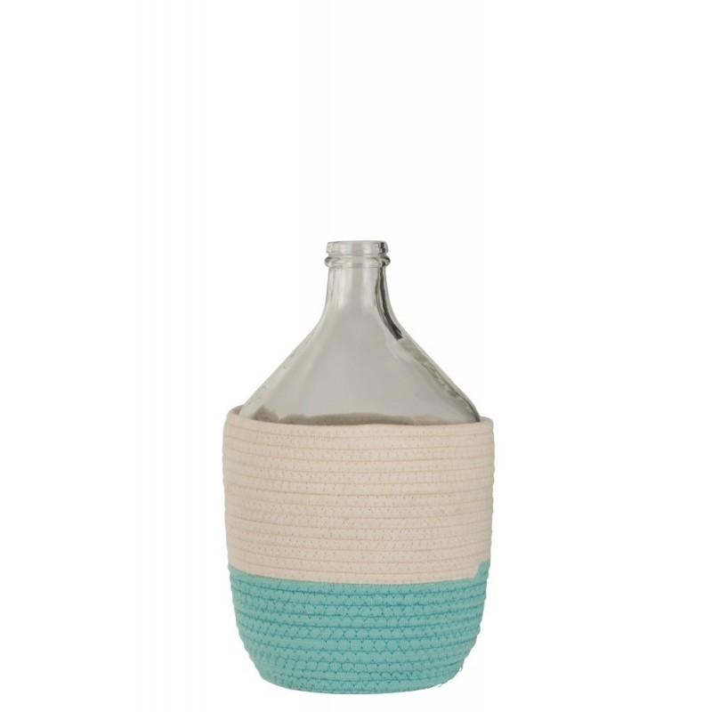 Bouteille coton/verre blanc/azur H40cm