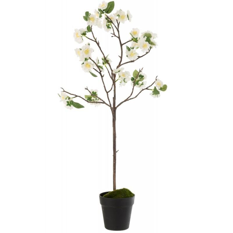 Arbre en fleurs plastique blanc/marron H88cm