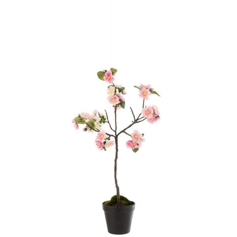 Arbre en fleurs plastique rose/marron H50cm