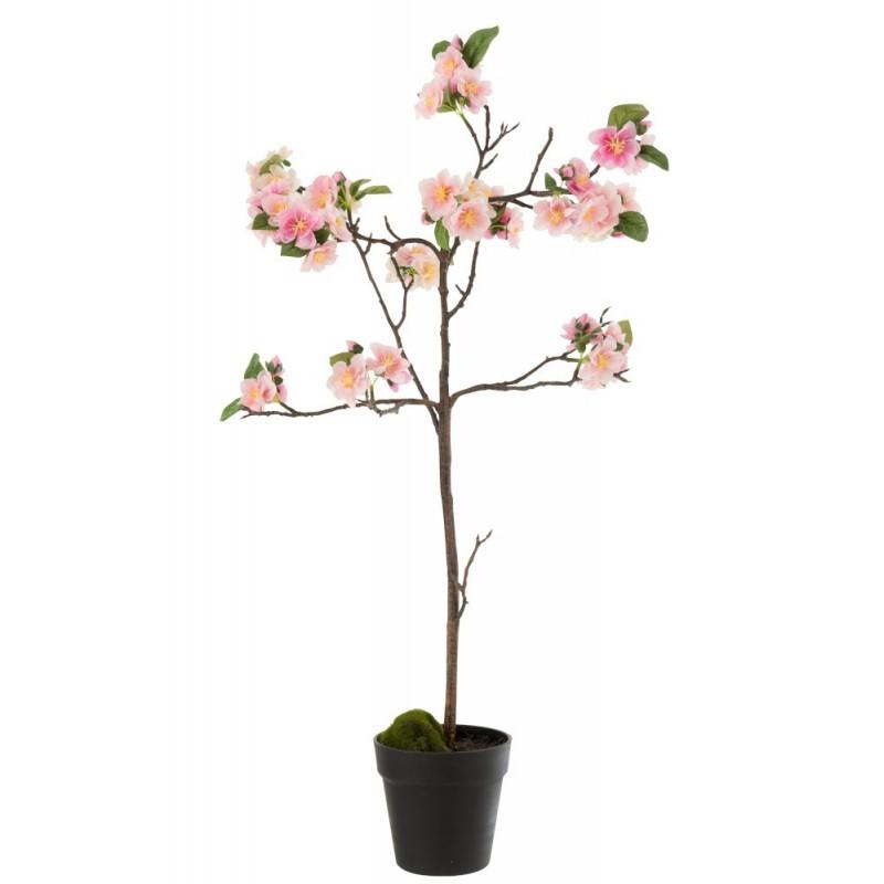 Arbre en fleurs plastique rose/marron H90cm