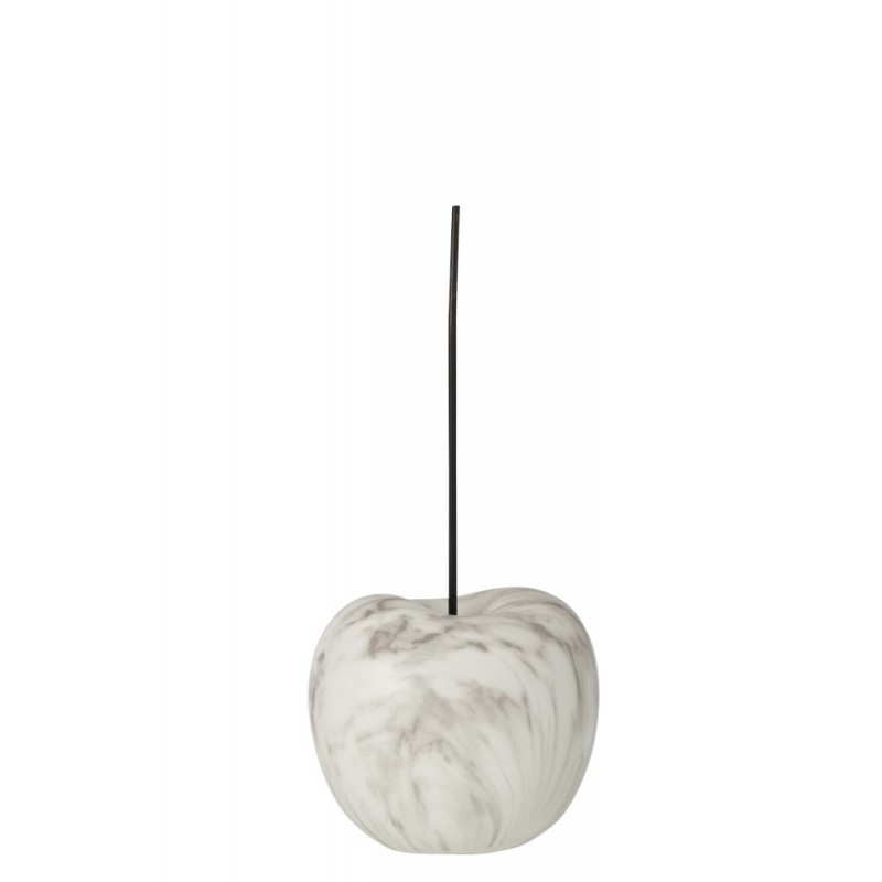Cerise effet marbre résine blanc/gris H44cm