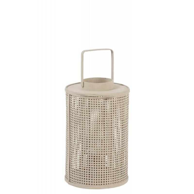 Lanterne ronde bambou/verre beige H44,5cm