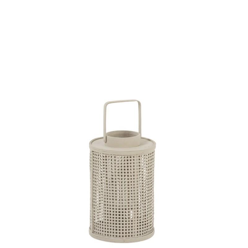 Lanterne ronde bambou/verre beige H34,5cm