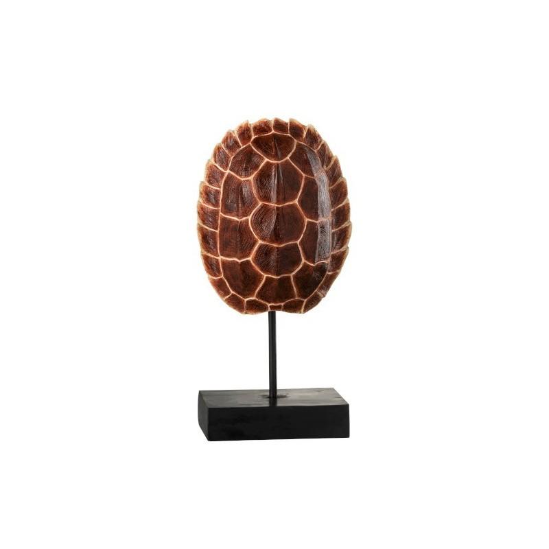 Carapace de tortue sur pied résine marron H40cm