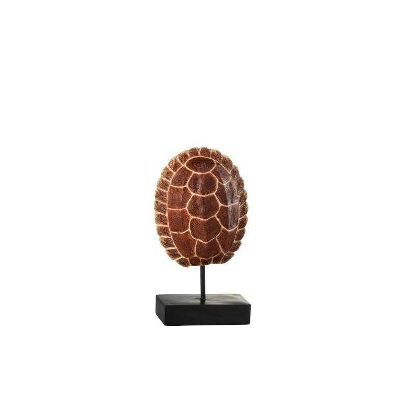 Carapace de tortue sur pied résine marron H30cm