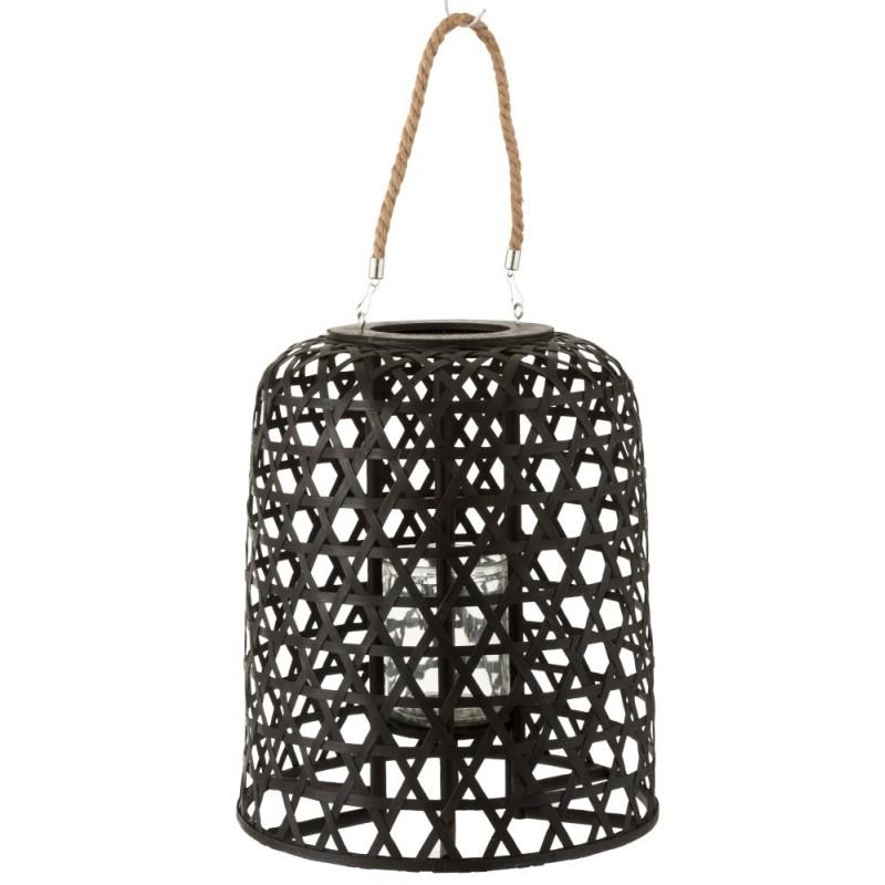 Lanterne suspendue bois noir mat H45,5cm