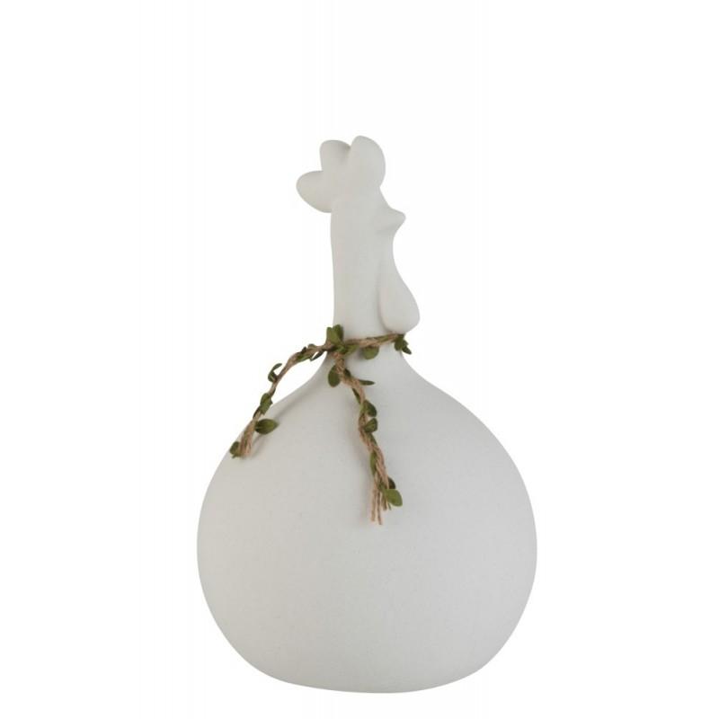 Poule porcelaine brute blanche H28,5cm