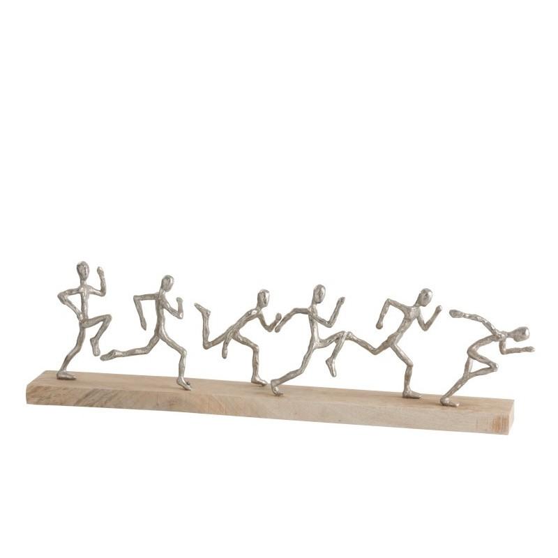 Statue 6 coureurs aluminium/bois argent/naturel L67cm