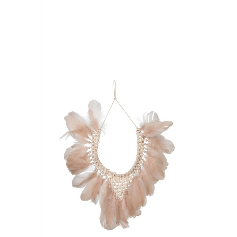 Collier plumes/coquillages saumon