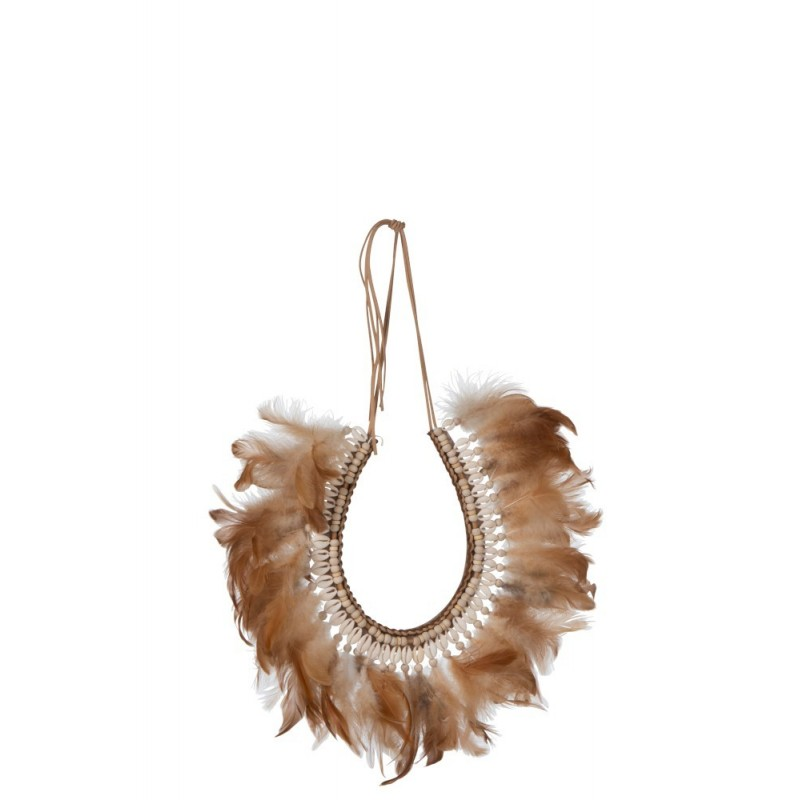 Collier plumes/coquillages rouille