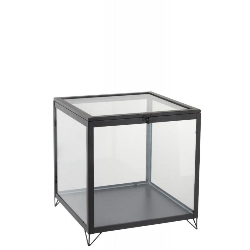 Boîte en verre carrée verre/métal noir H41cm