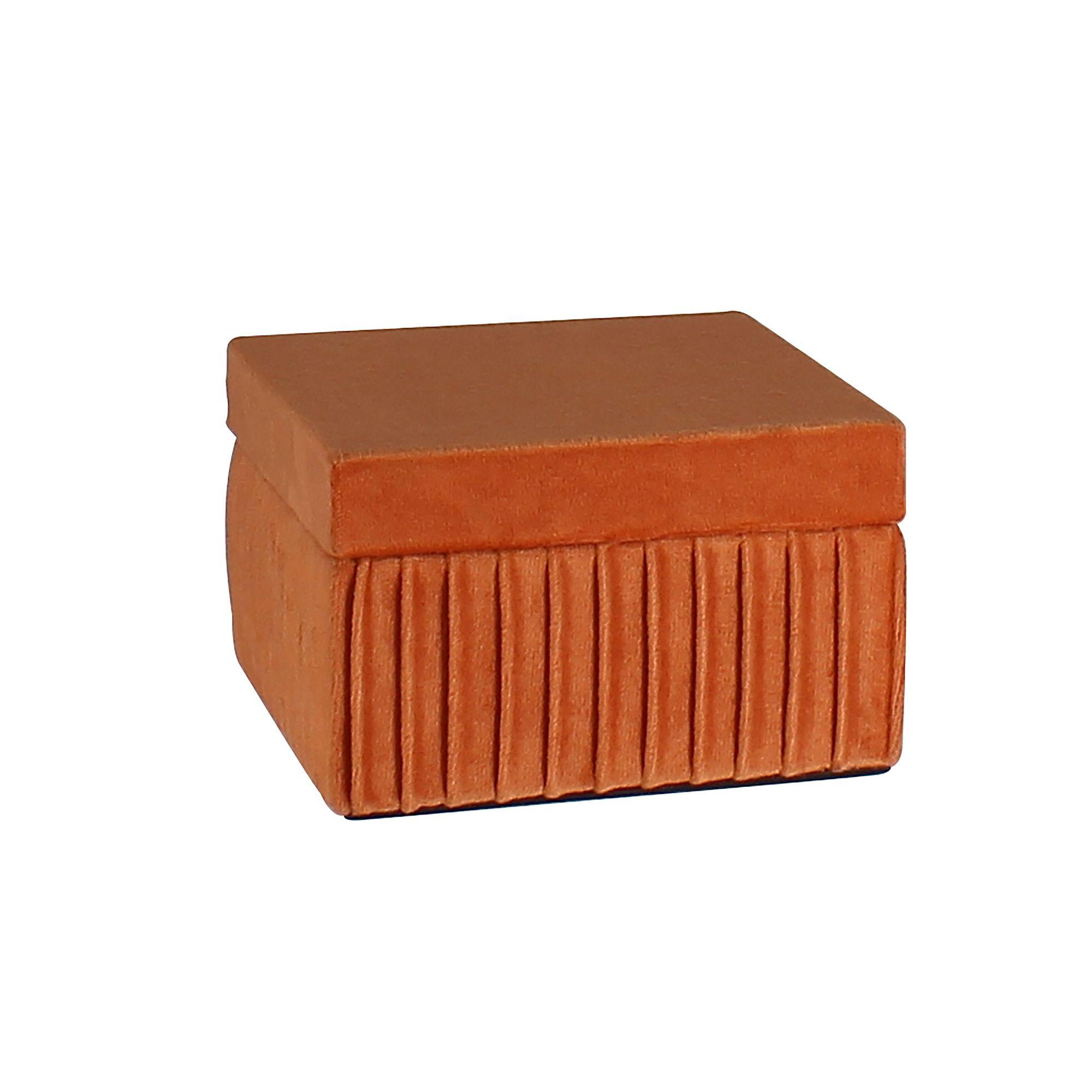 Boîte en velours plissé terracotta