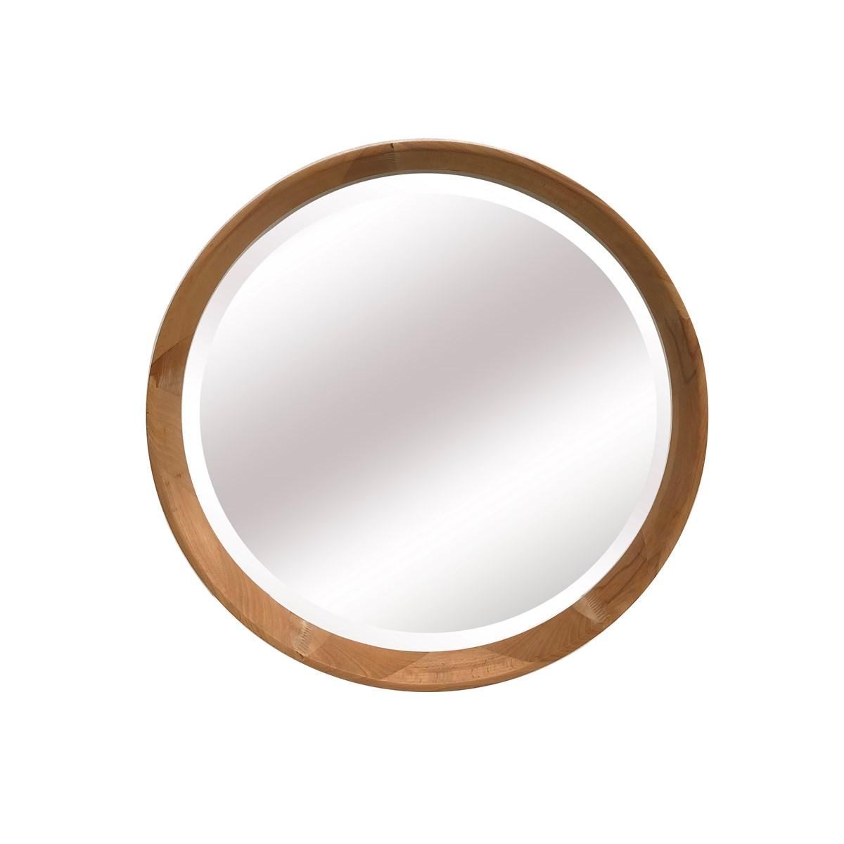 Miroir bois rond biseaute en Bois Marron