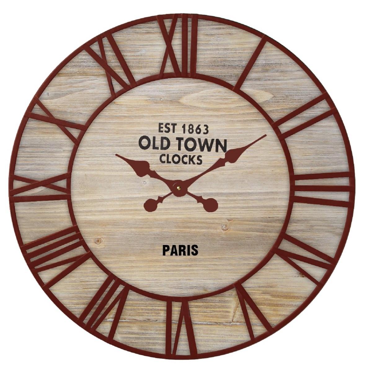 Horloge ronde en Bois Marron