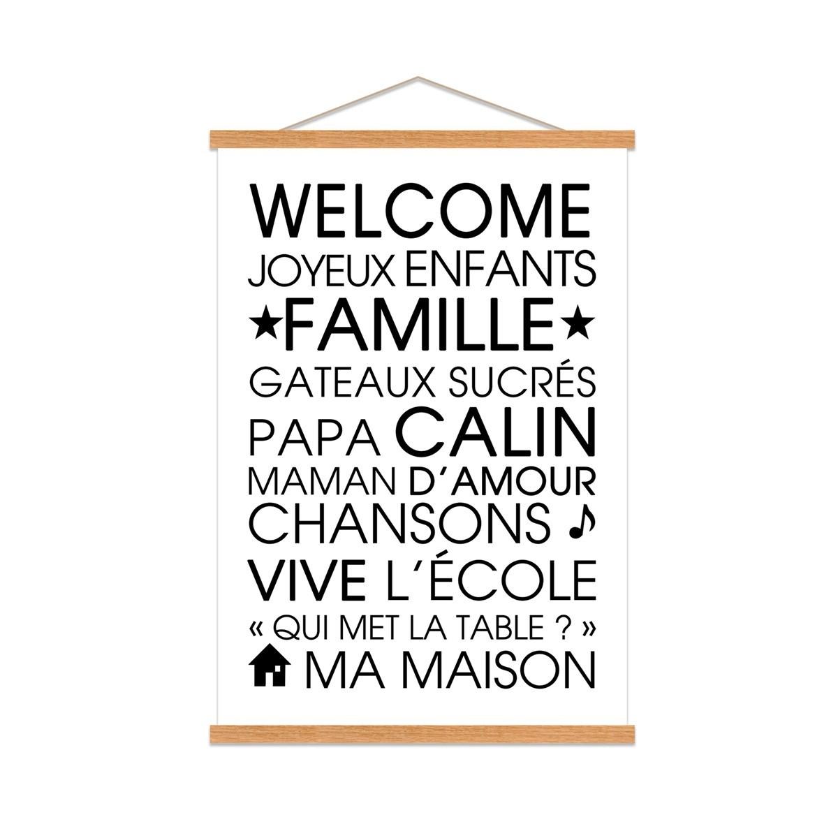 Affiche Kakemono Welcome en Toile Blanc