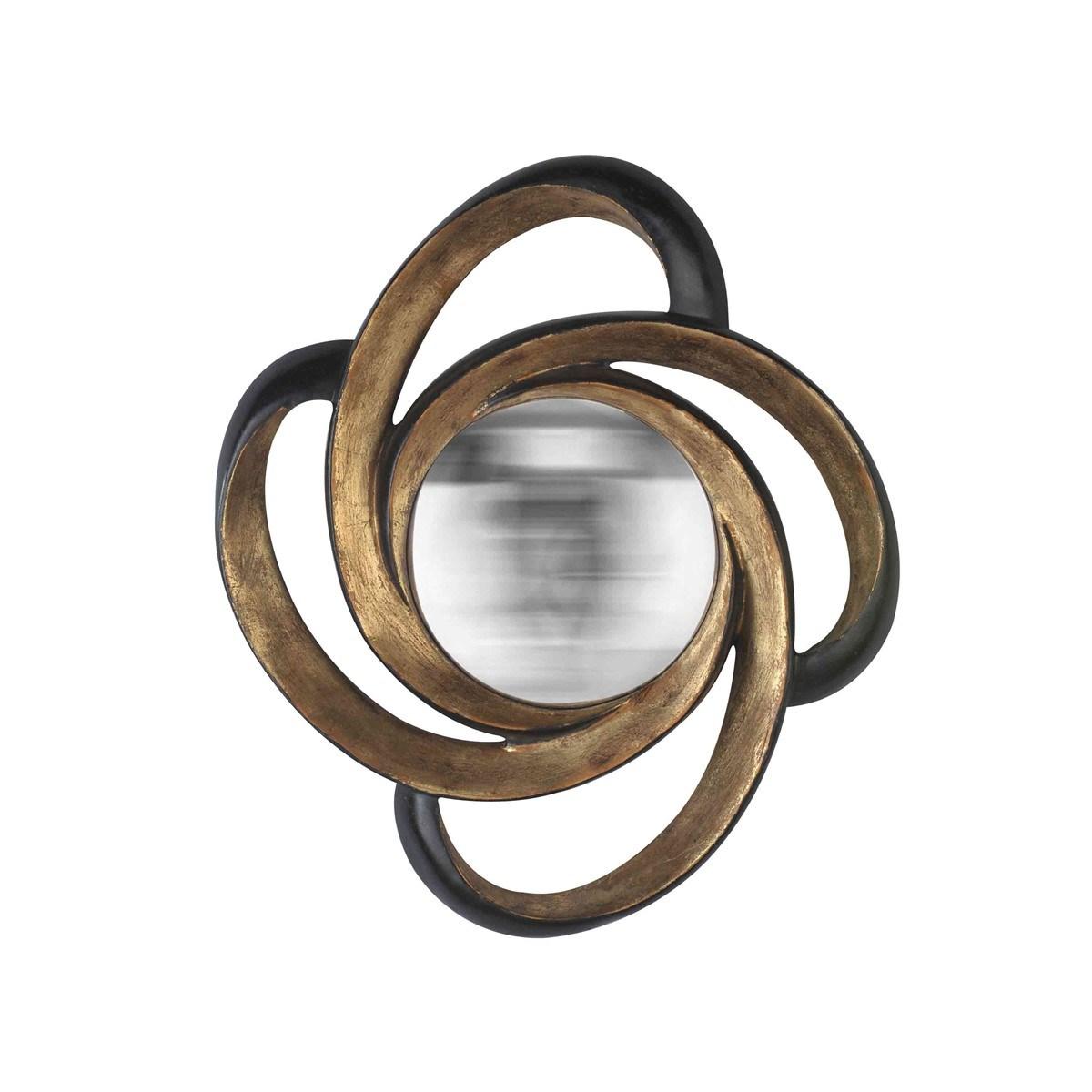 Miroir boucle noir et or en Résine Or