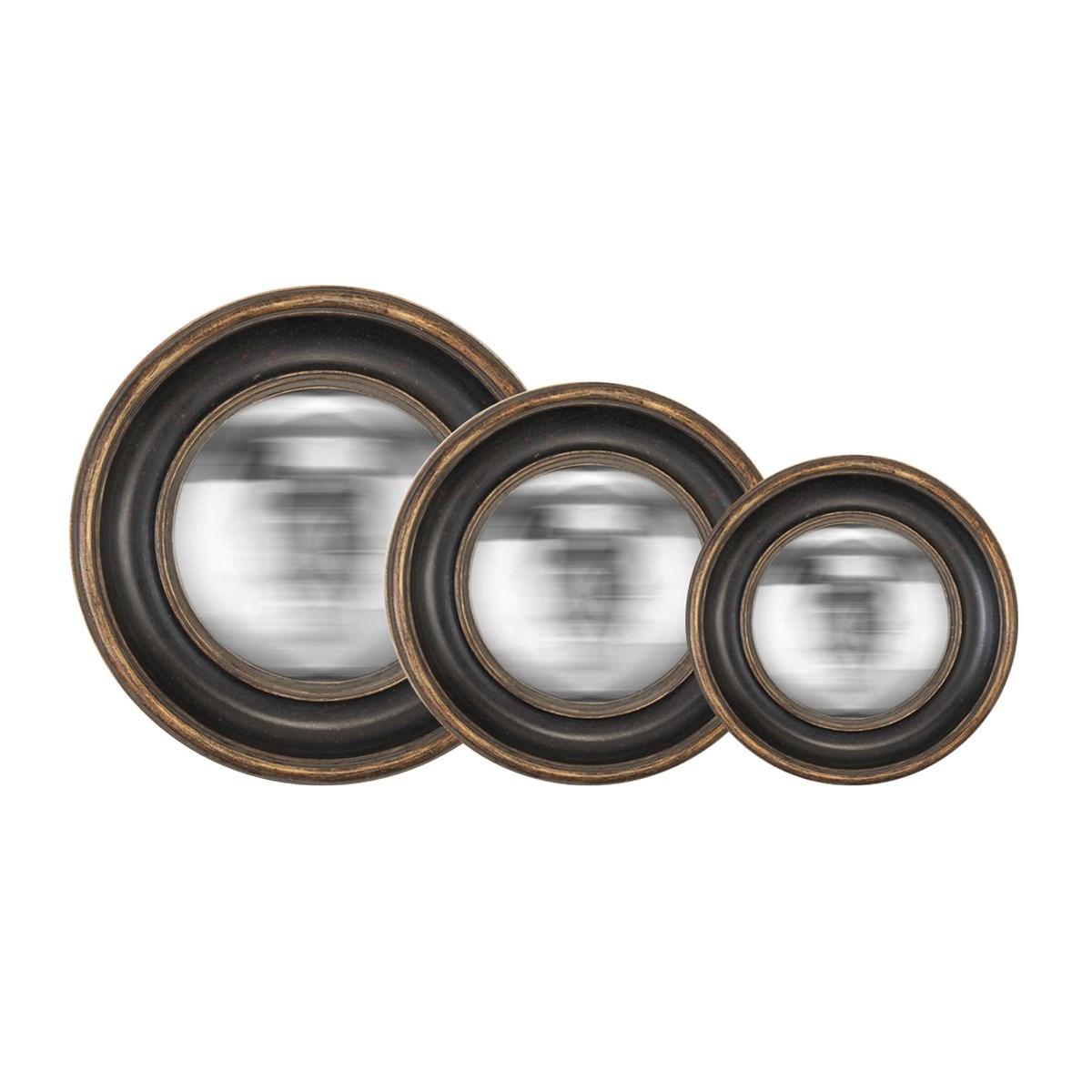 Lot de 3 miroirs convexes en Résine Noir