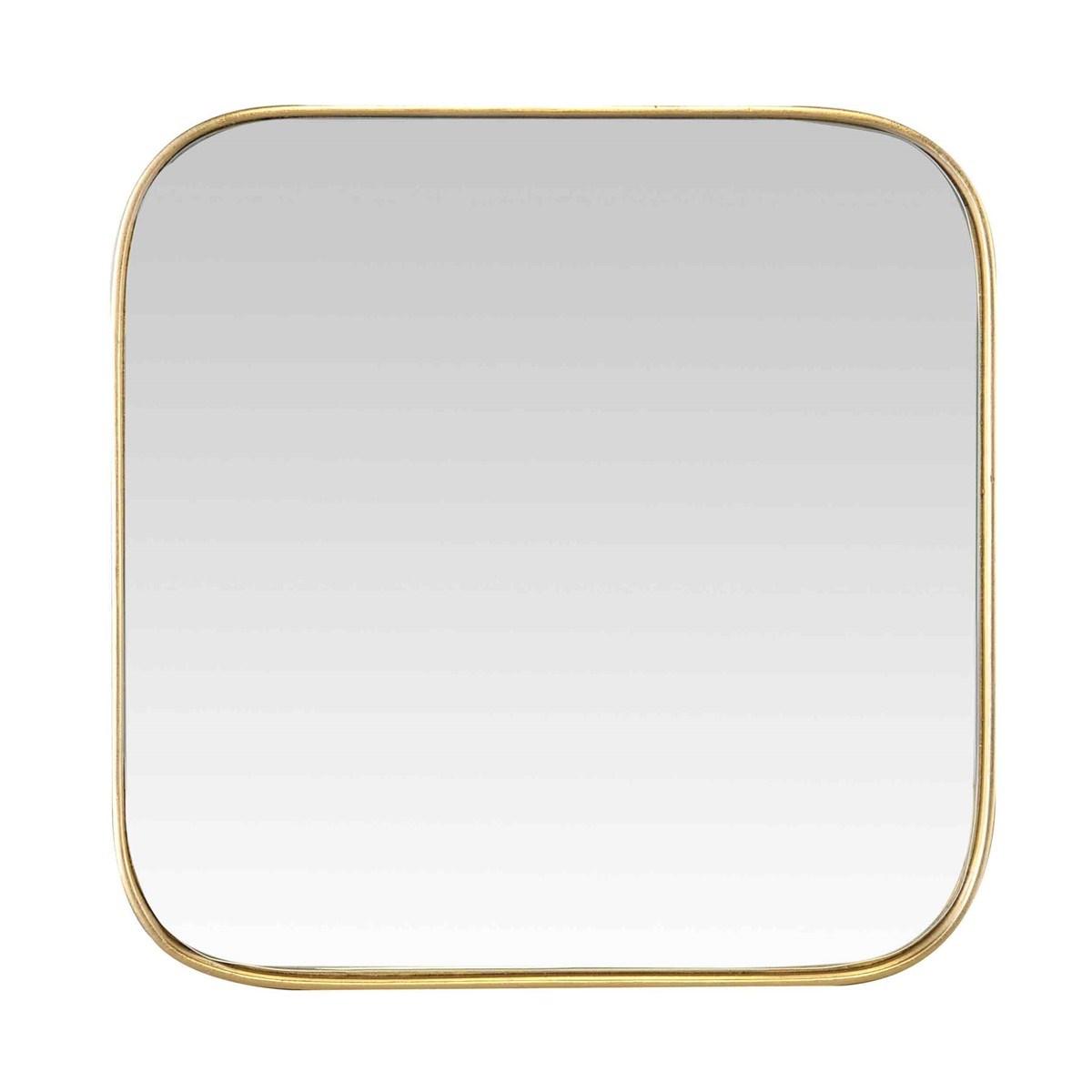 Miroir carré fin en MDF Or