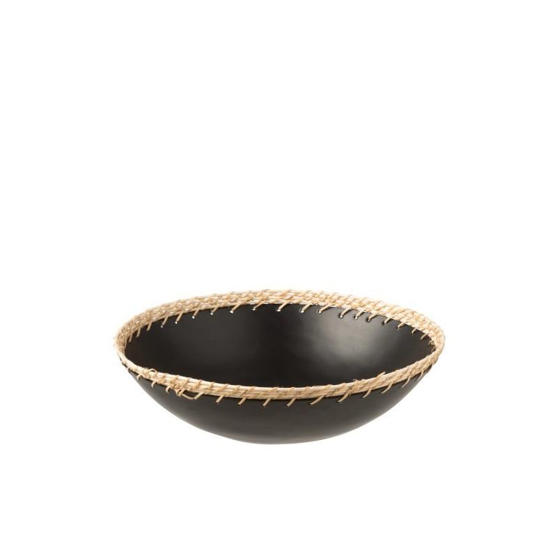 Plat décoratif métal/rotin noir D32cm