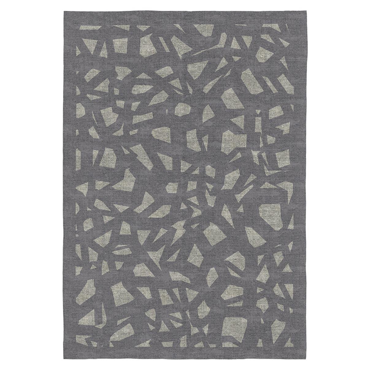Tapis décoratif en coton imprimé numérique gris 140x200 cm