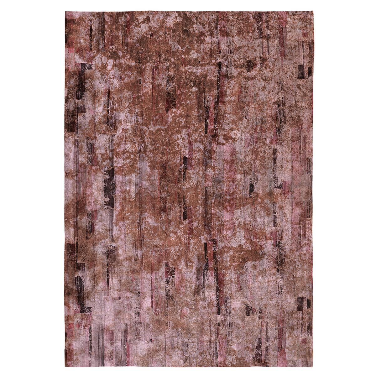 Tapis décoratif modern en coton imprimé marron 120x170 cm