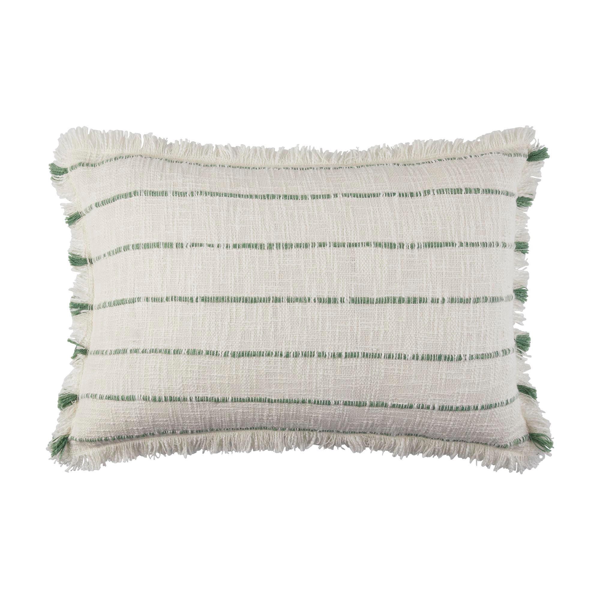 Housse de coussin 40x60 cm Blanc cassé et vert