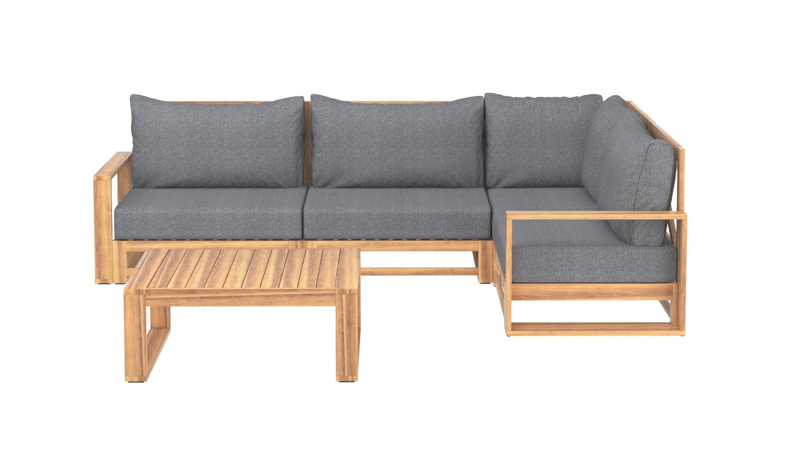 Salon de jardin 4 places en bois d'acacia