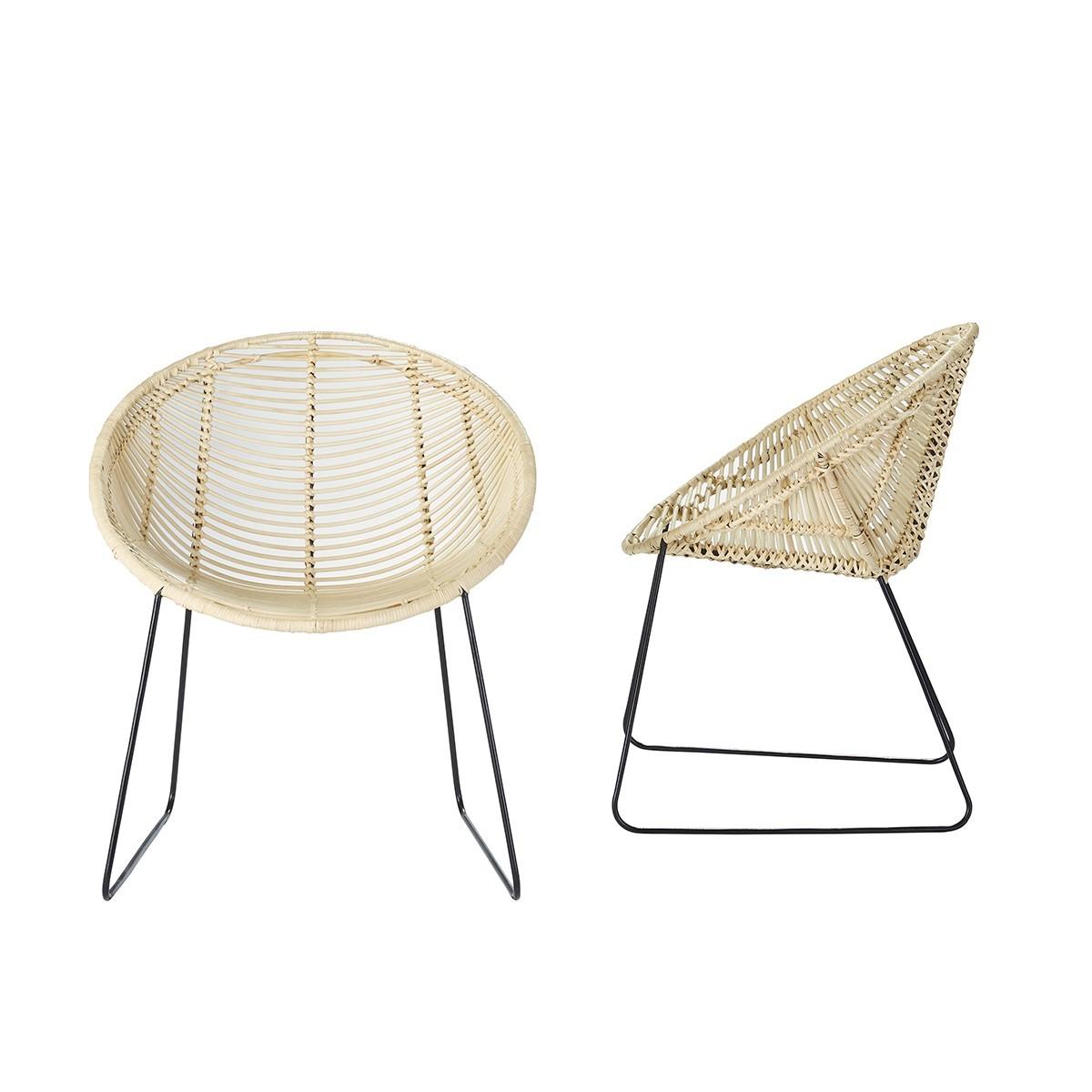 Lot de 2 chaises en rotin et métal