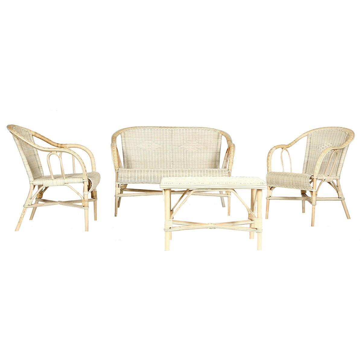 Ensemble en rotin 1 canapé 2 fauteuils et 1 table basse