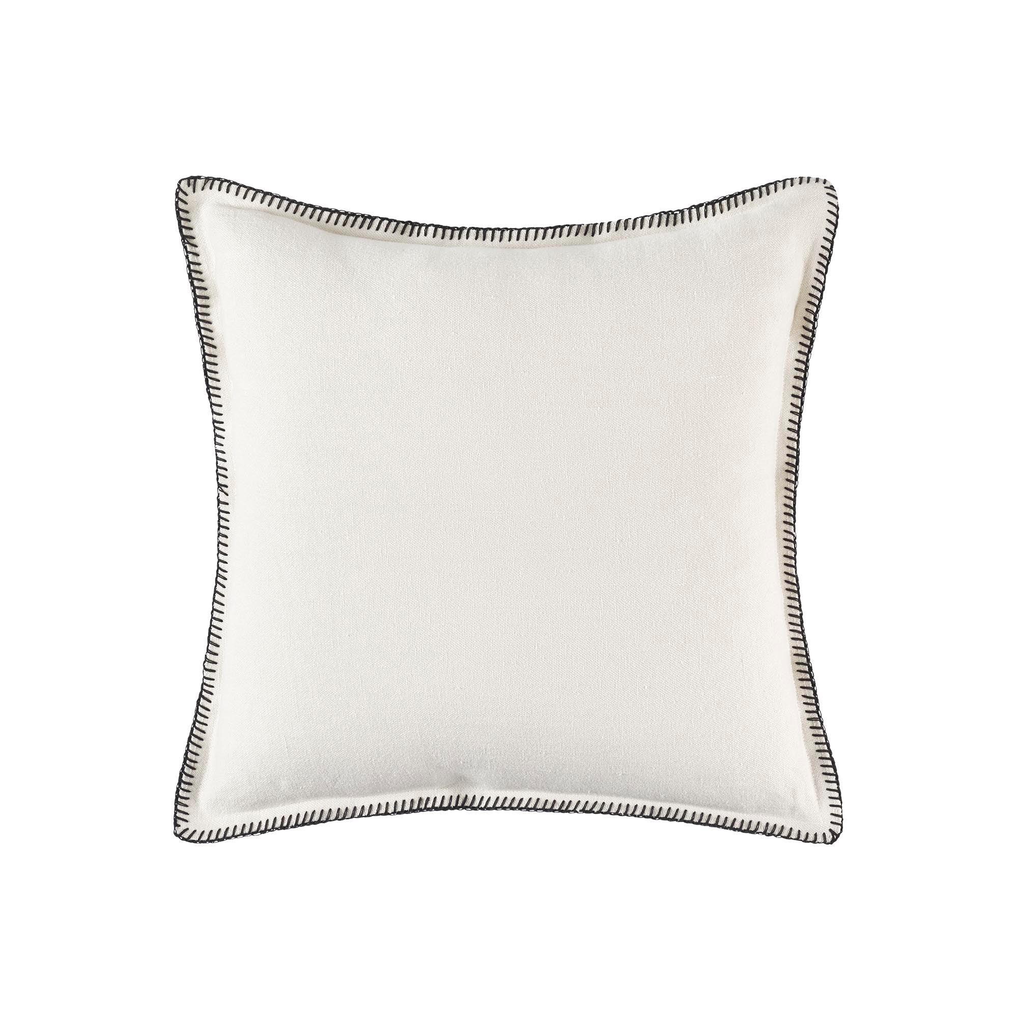 Housse de coussin 50x50 cm Blanc et feston noir en Lin
