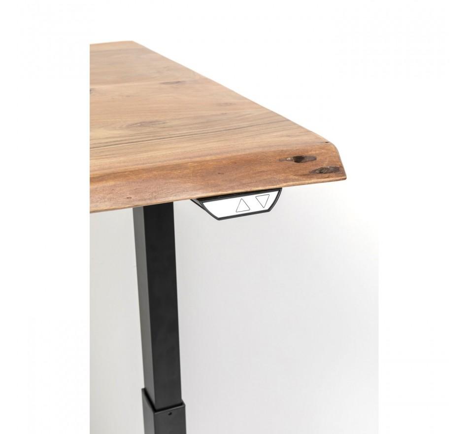 Bureau réglable assis-debout acacia brut et acier noir L200