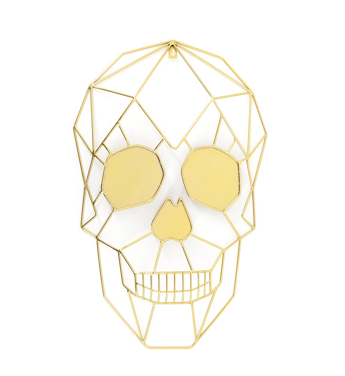 Déco murale Skull en métal doré