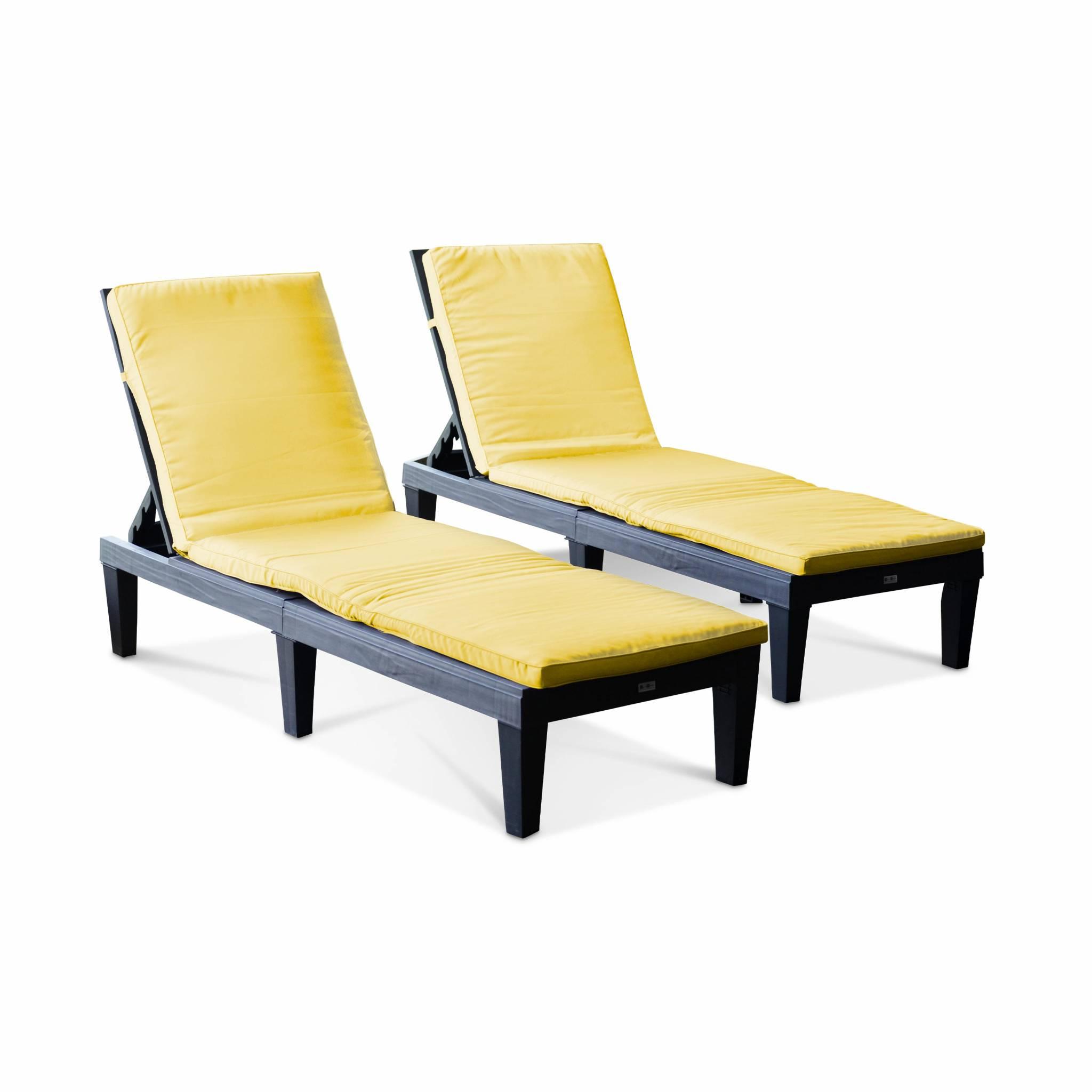 2 matelas de transat épais moutarde 188 x 55 cm