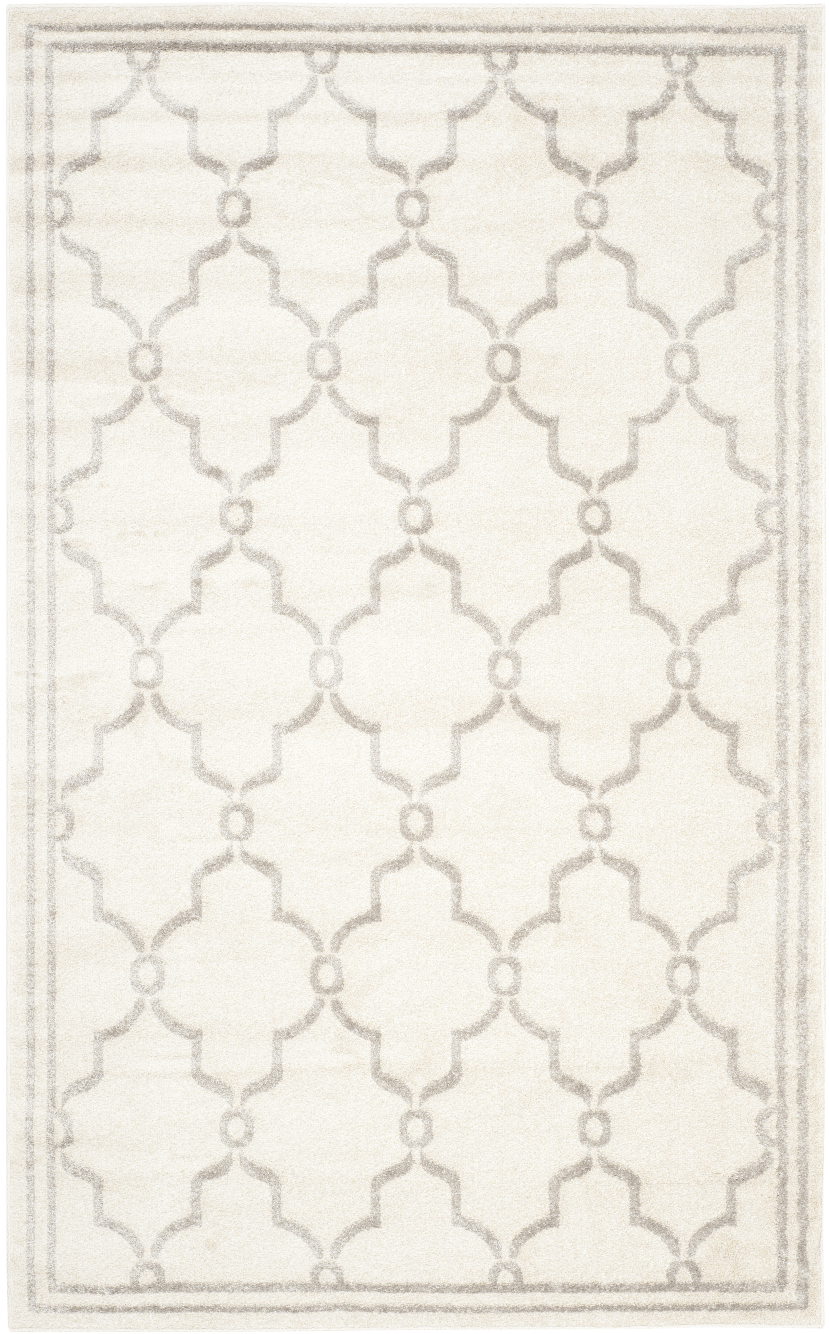 Tapis géométrique intérieur/extérieur  ivoire et gris clair 1...