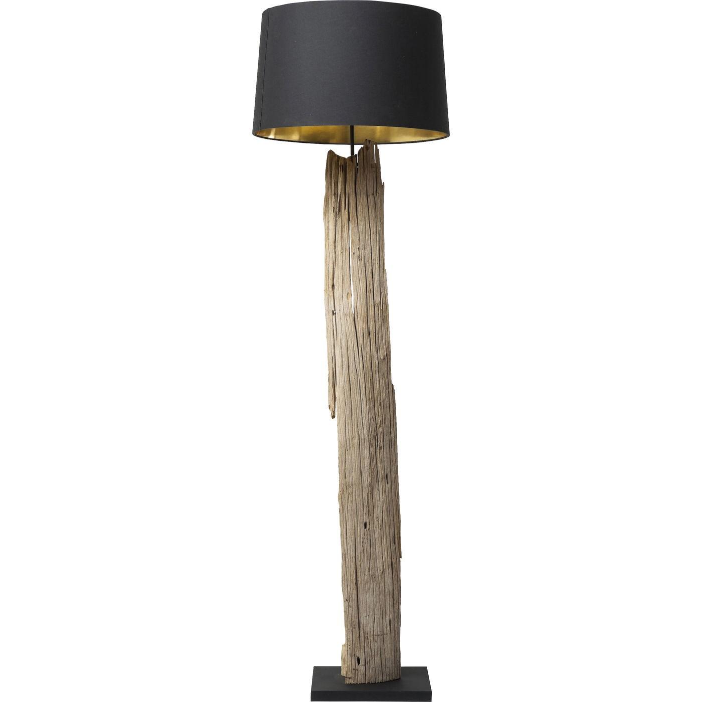 Lampadaire en bois flotté et abat-jour en coton noir H171