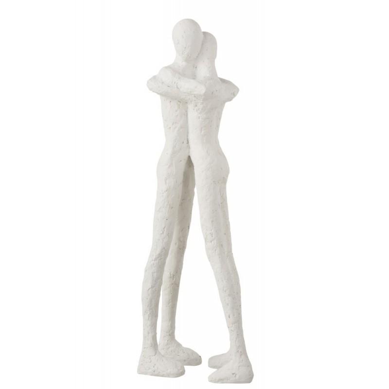 Statue couple résine blanche H48,5cm