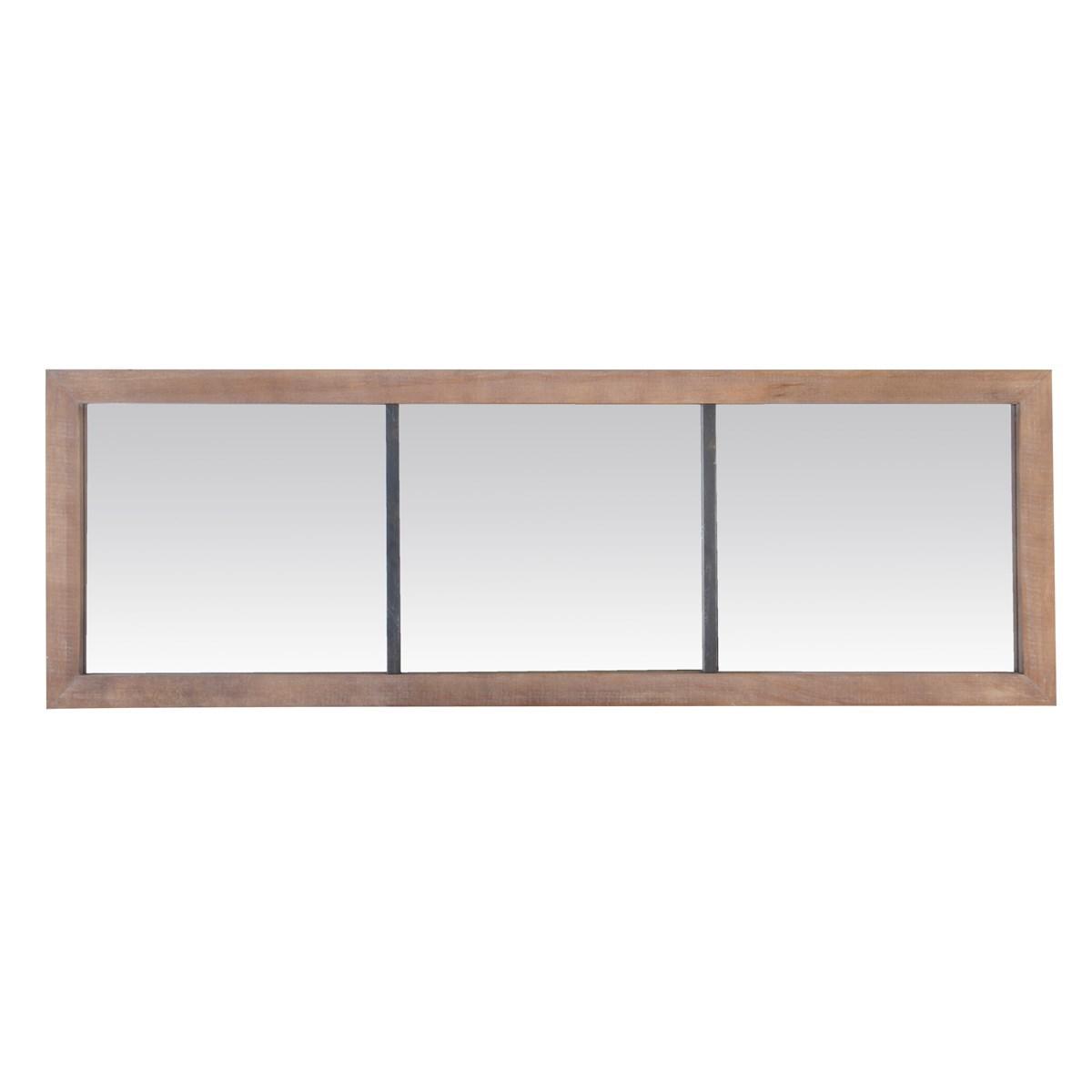 Miroir 3 bandes en métal et bois en Bois Marron
