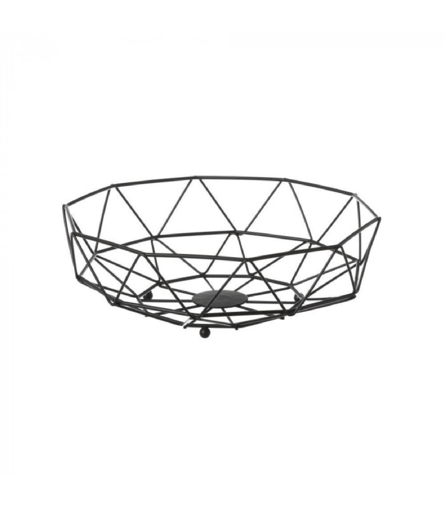 Corbeille à fruits en métal noir géométrique D26,5cm