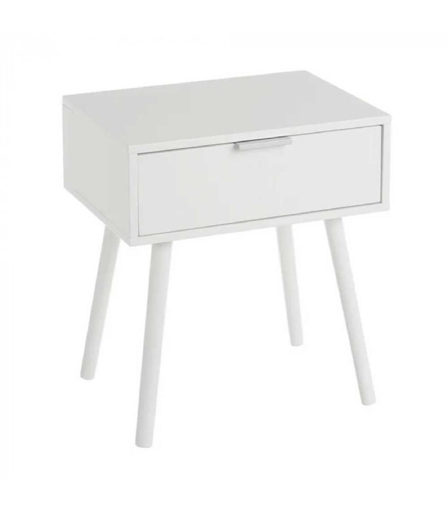 Table de chevet en bois blanc 1 tiroir