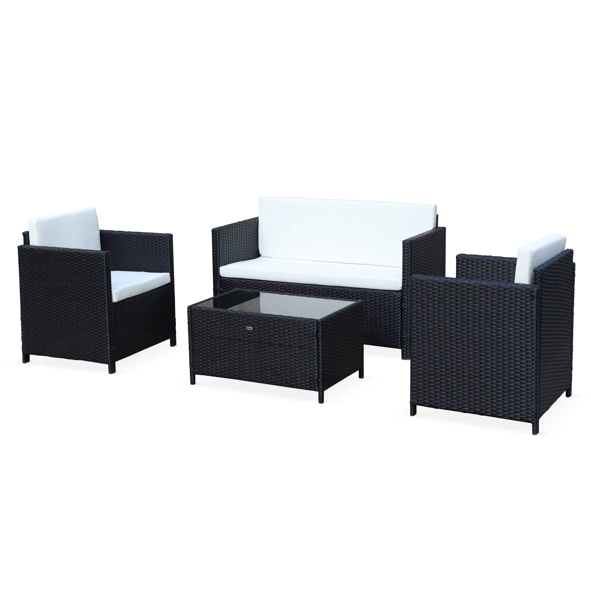 Salon de jardin 4 places en résine tressée noir avec coussins écrus