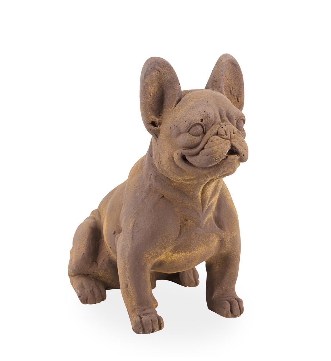 Statue bulldog en résine marron