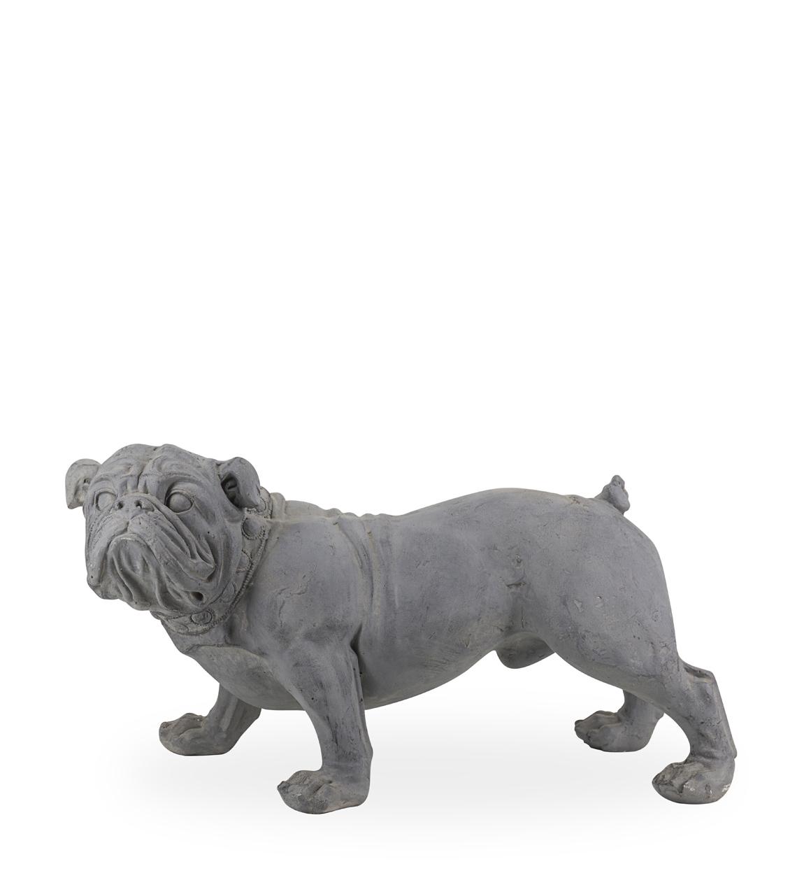Statue bulldog en résine gris