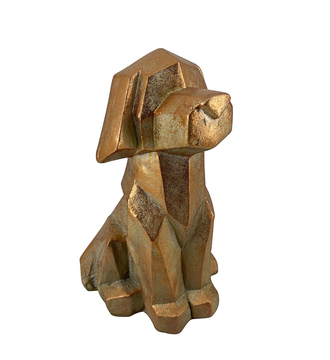 Statue chien en résine dorée