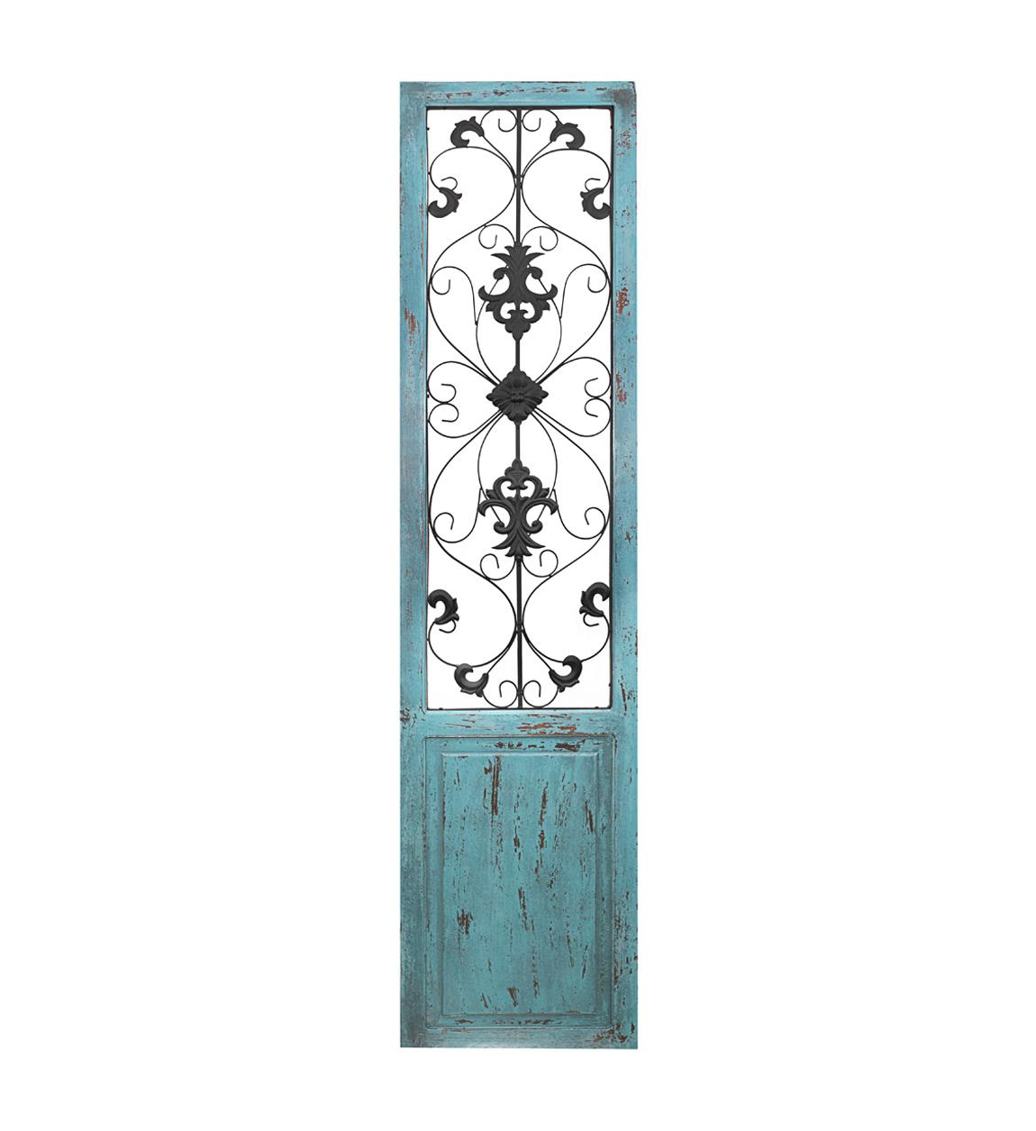Panneau décoratif en métal et bois turquoise