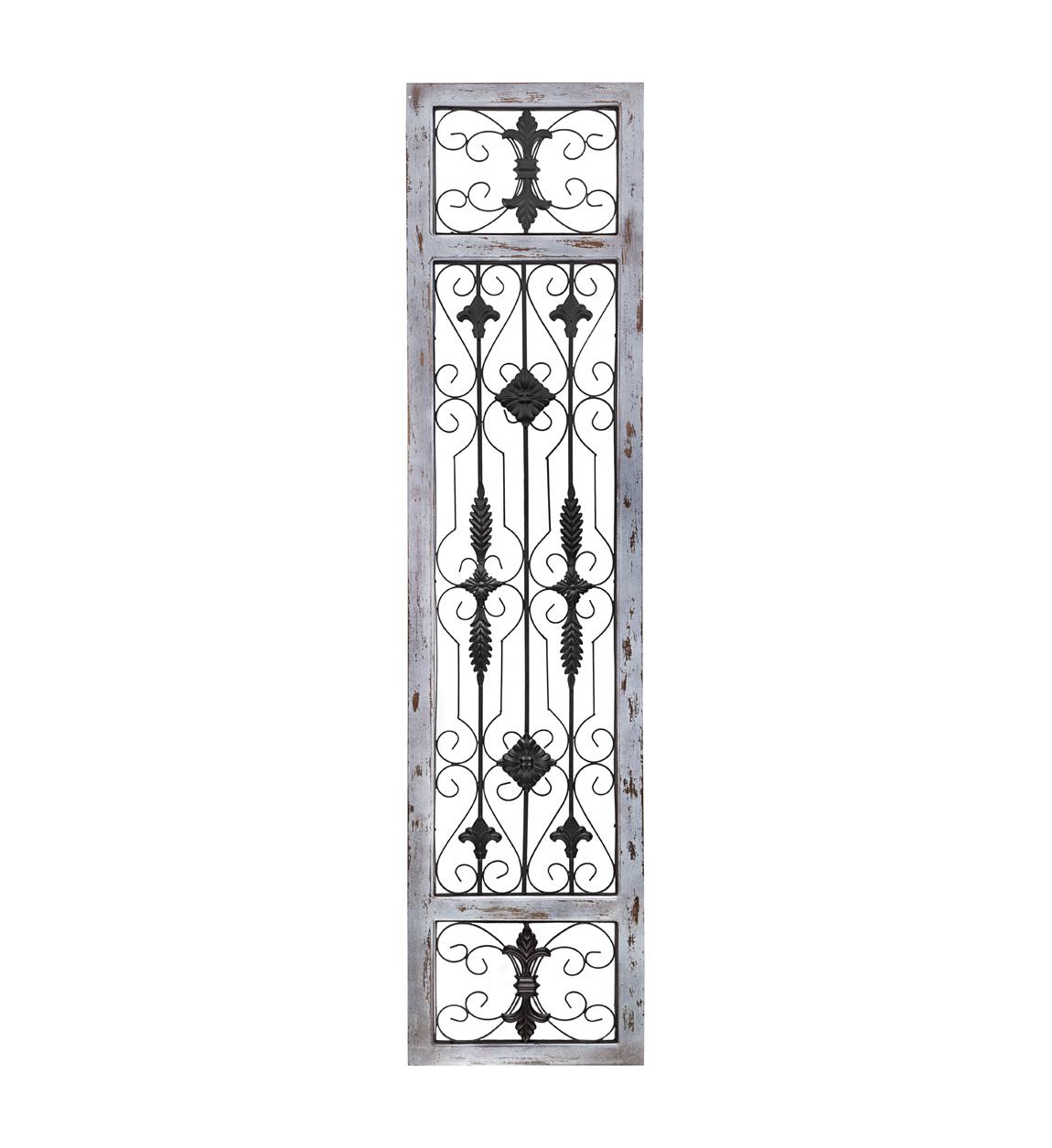 Panneau décoratif en métal et bois gris
