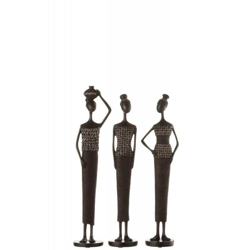 Figurine Africaine résine noire H43cm - Lot de 3