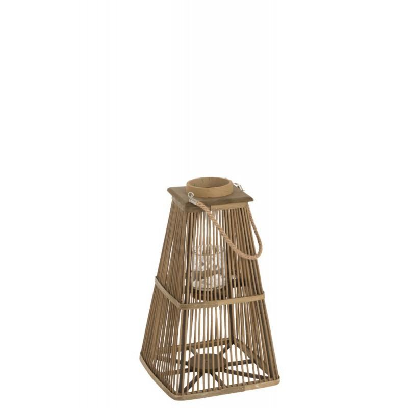 Lanterne photophore bambou naturel H54cm