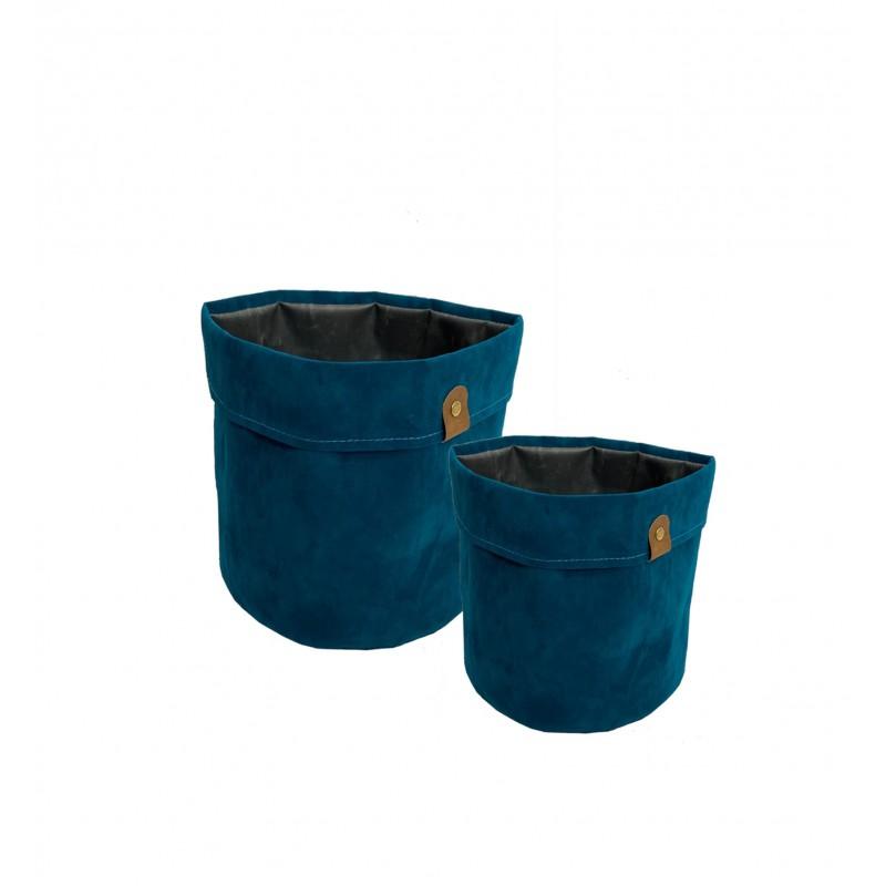 2 Cache-pots panier pour plante tissu bleu effet velours D20/D23cm