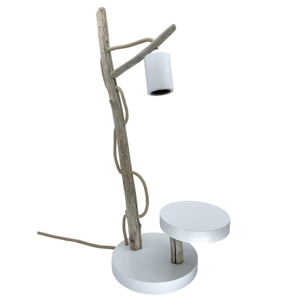 Lampe à poser en bois recyclé blanc