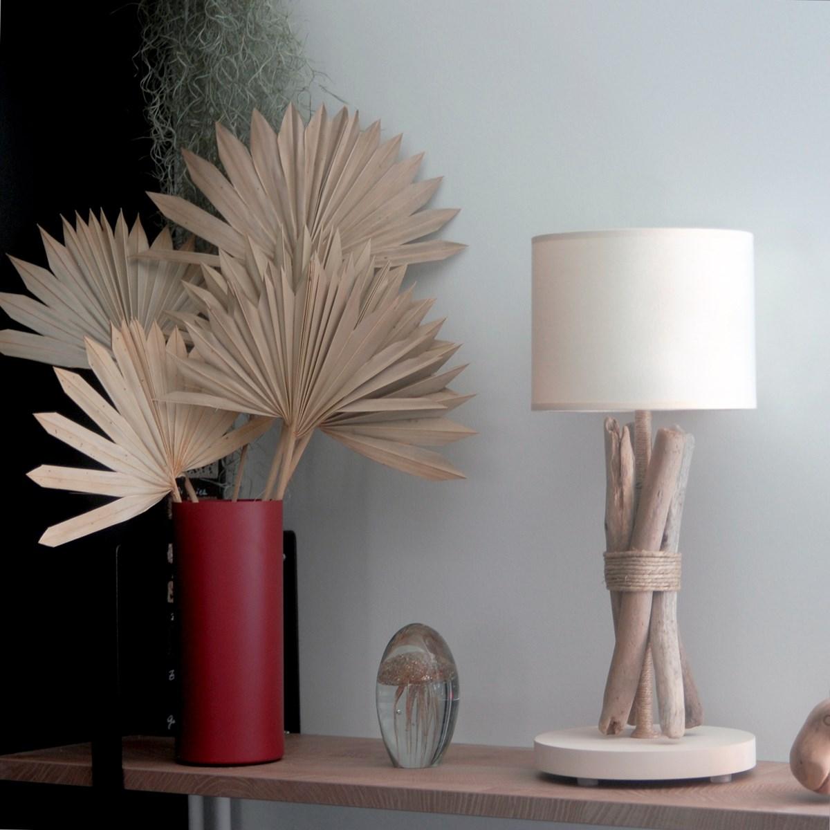 Lampe à poser en bois blanc cassé